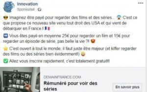 arnaque facebook gagner argent regarder films et séries
