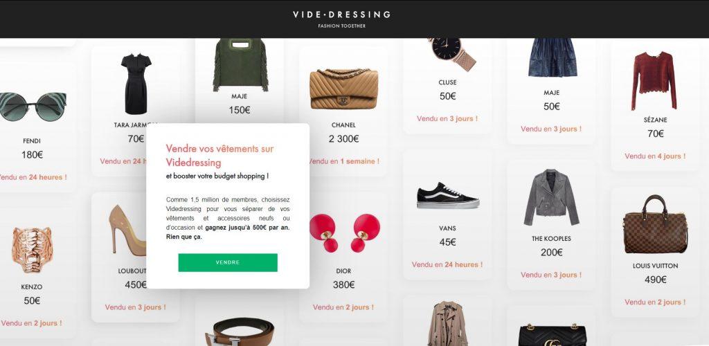 vendre vêtements site web vide dressing
