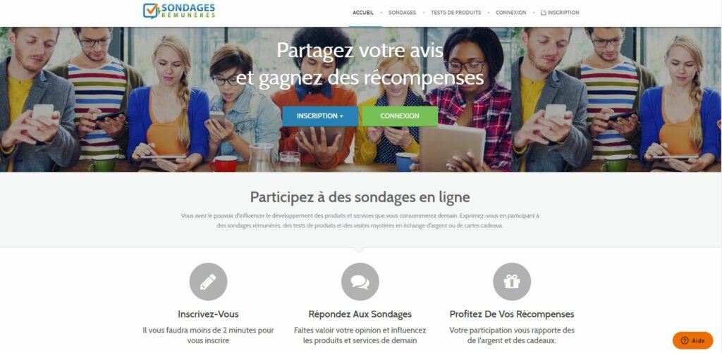 site Internet sondages rémunérés