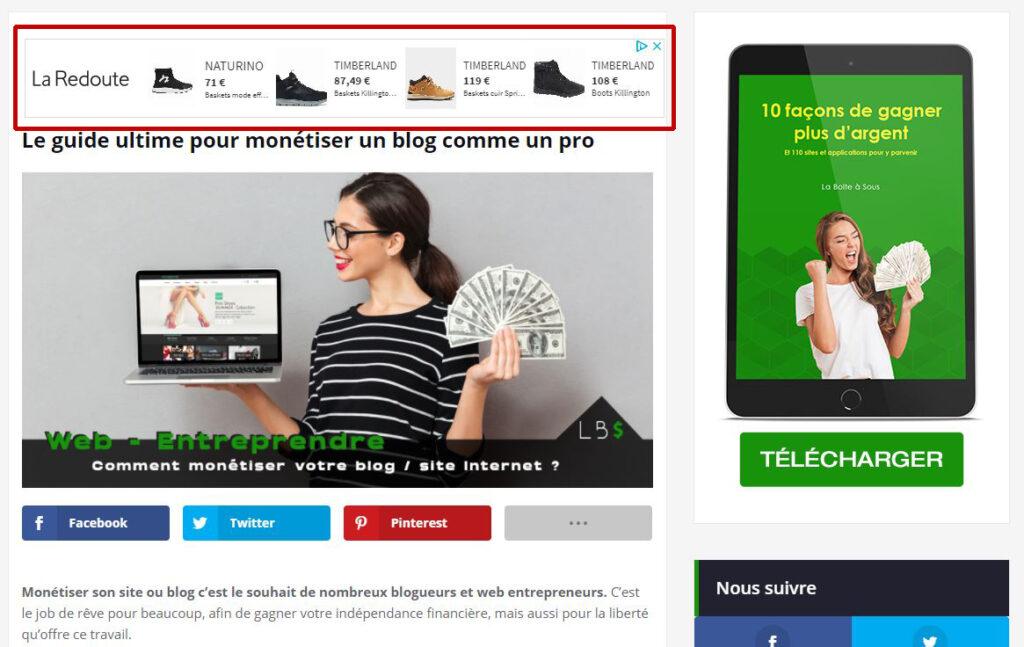 monétiser un blog avec la publicité adsense