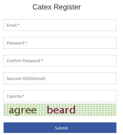Formulaire de création de compte Catex