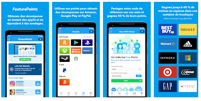 feature points applications pour gagner de l'argent
