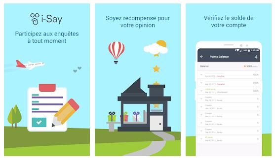 i-say a^pplication mobile de sondages payés