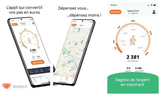 weward applications gagner de l'argent avev son smartphone en marchant