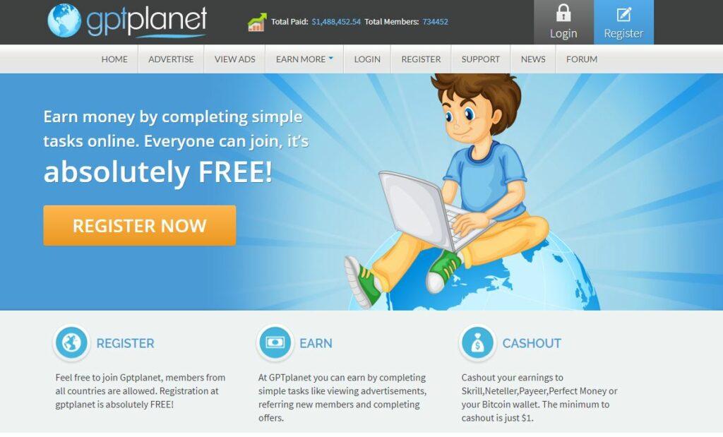gptplanet site de paid to click