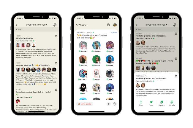 Clubhouse interface réseau social sur ios