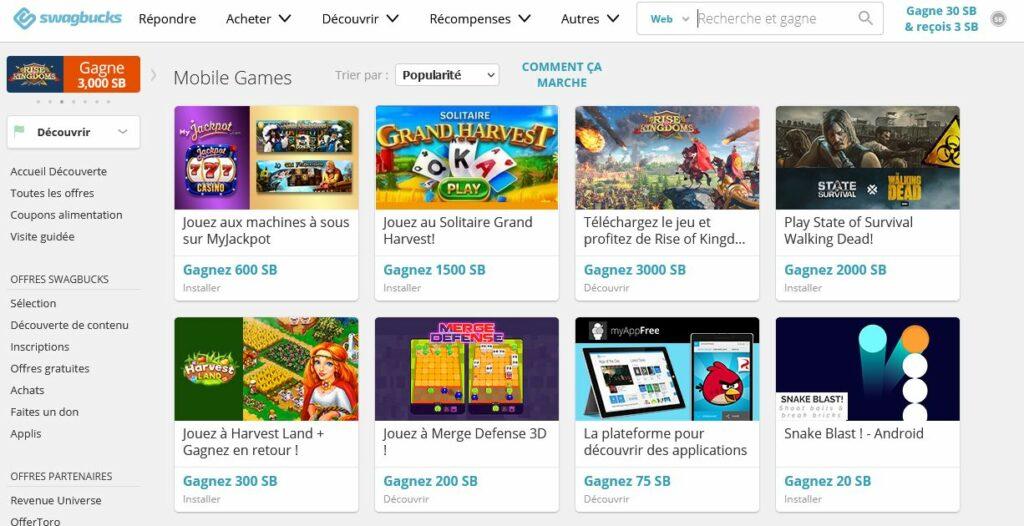 jeux pour gagner de l'argent paypal swagbucks mobile